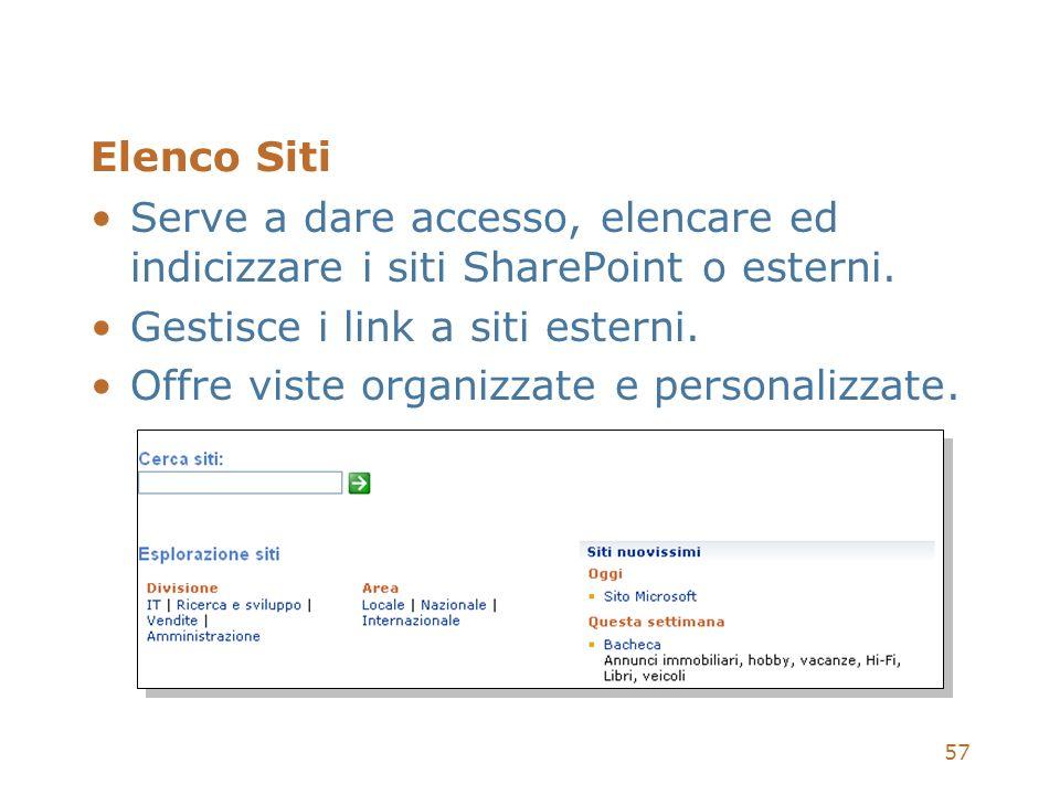57 Elenco Siti Serve a dare accesso, elencare ed indicizzare i siti SharePoint o esterni. Gestisce i link a siti esterni. Offre viste organizzate e pe