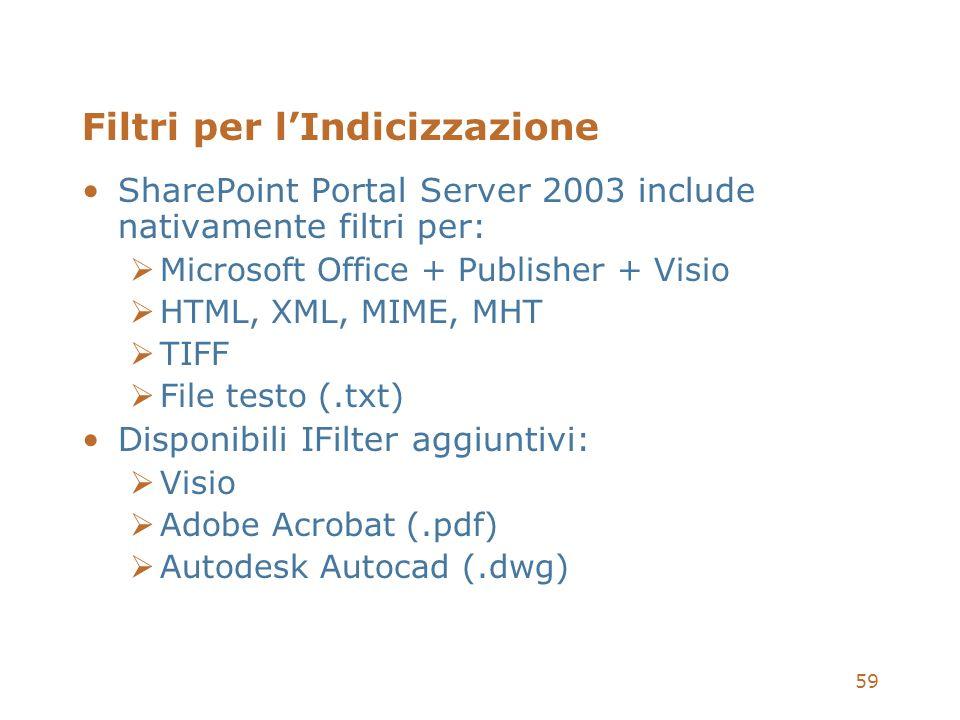 59 Filtri per lIndicizzazione SharePoint Portal Server 2003 include nativamente filtri per: Microsoft Office + Publisher + Visio HTML, XML, MIME, MHT