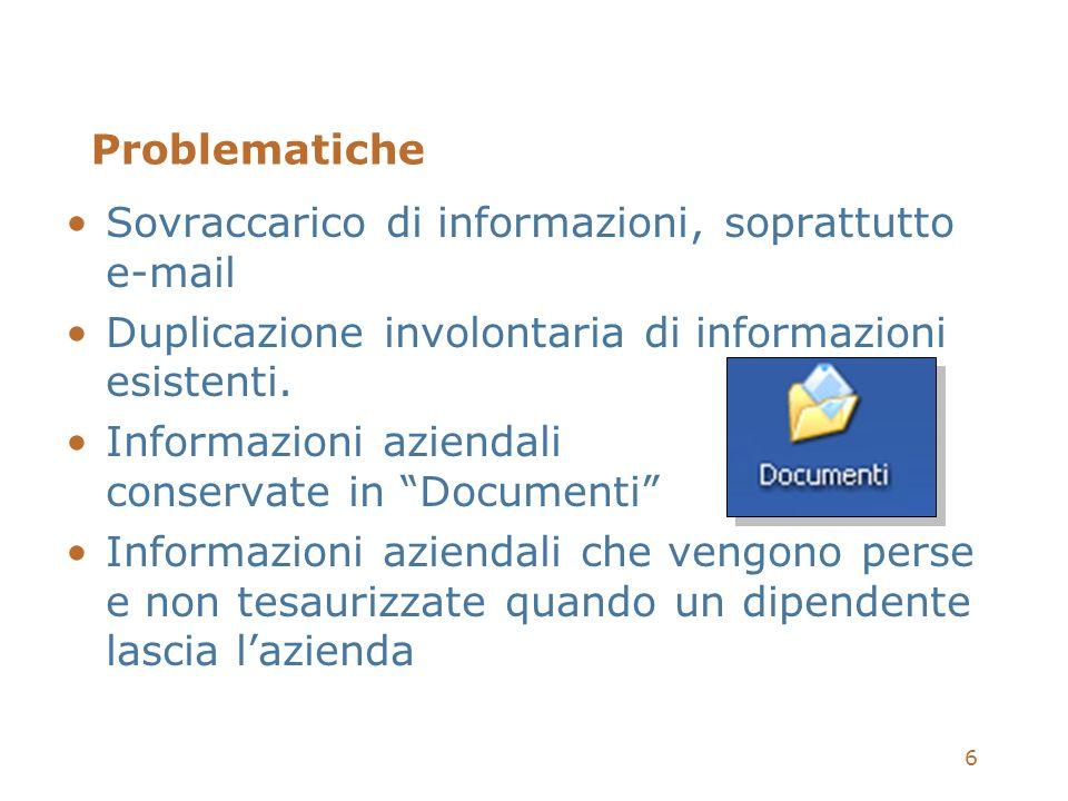 6 Problematiche Sovraccarico di informazioni, soprattutto e-mail Duplicazione involontaria di informazioni esistenti. Informazioni aziendali conservat