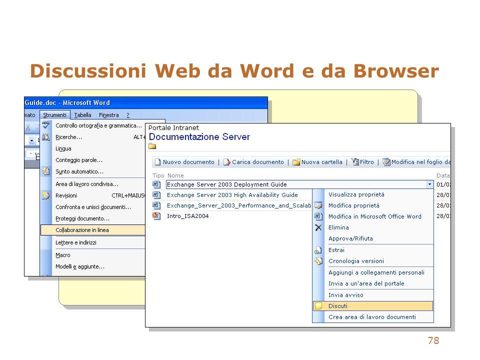 78 Discussioni Web da Word e da Browser