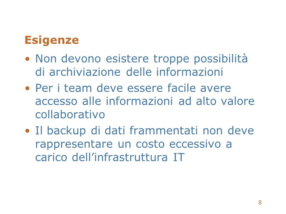 59 Filtri per lIndicizzazione SharePoint Portal Server 2003 include nativamente filtri per: Microsoft Office + Publisher + Visio HTML, XML, MIME, MHT TIFF File testo (.txt) Disponibili IFilter aggiuntivi: Visio Adobe Acrobat (.pdf) Autodesk Autocad (.dwg)