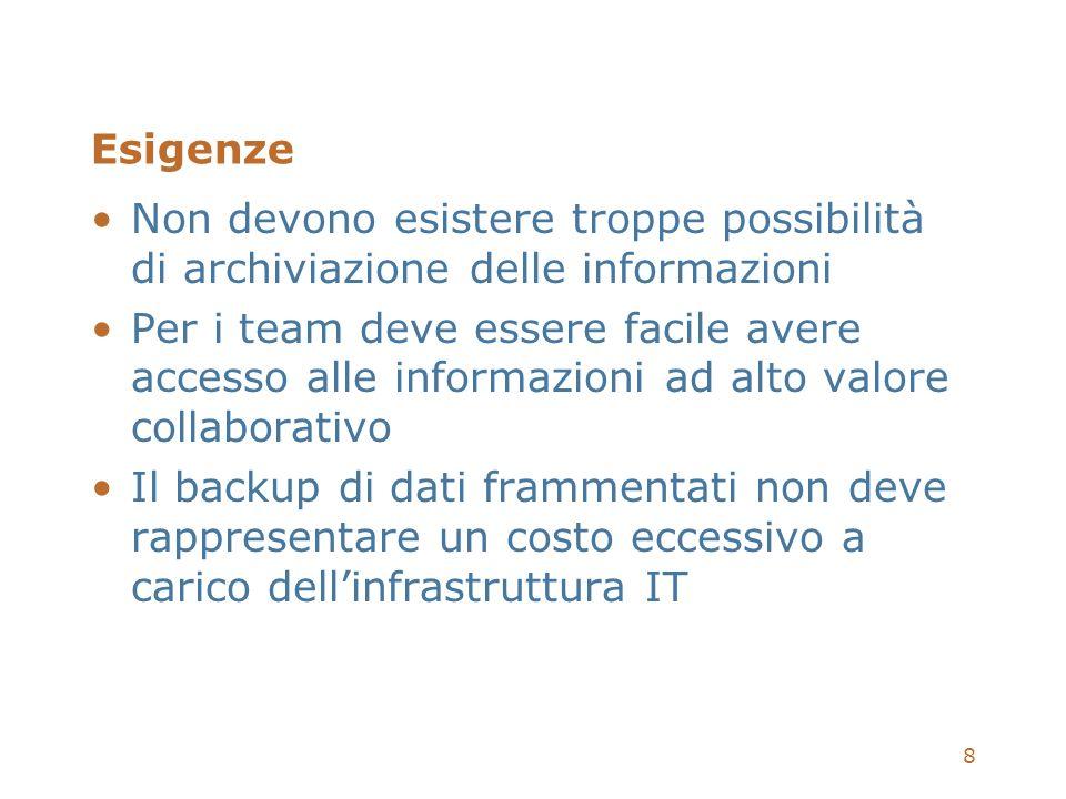 8 Esigenze Non devono esistere troppe possibilità di archiviazione delle informazioni Per i team deve essere facile avere accesso alle informazioni ad