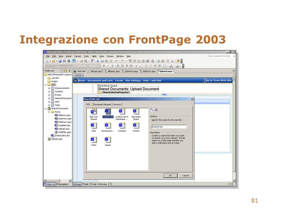 81 Integrazione con FrontPage 2003