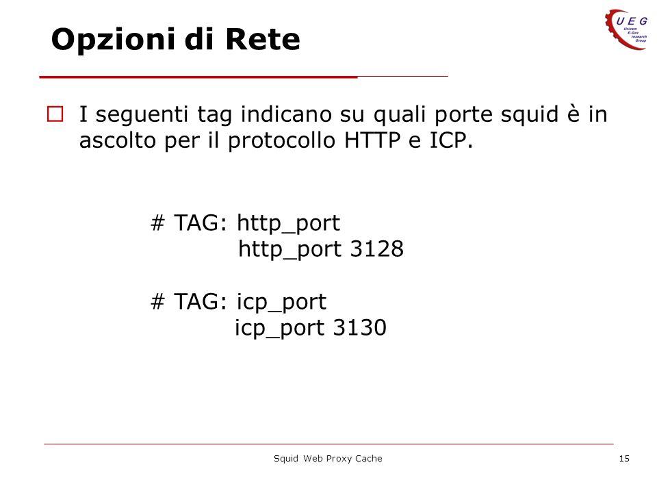Squid Web Proxy Cache15 Opzioni di Rete I seguenti tag indicano su quali porte squid è in ascolto per il protocollo HTTP e ICP. # TAG: http_port http_