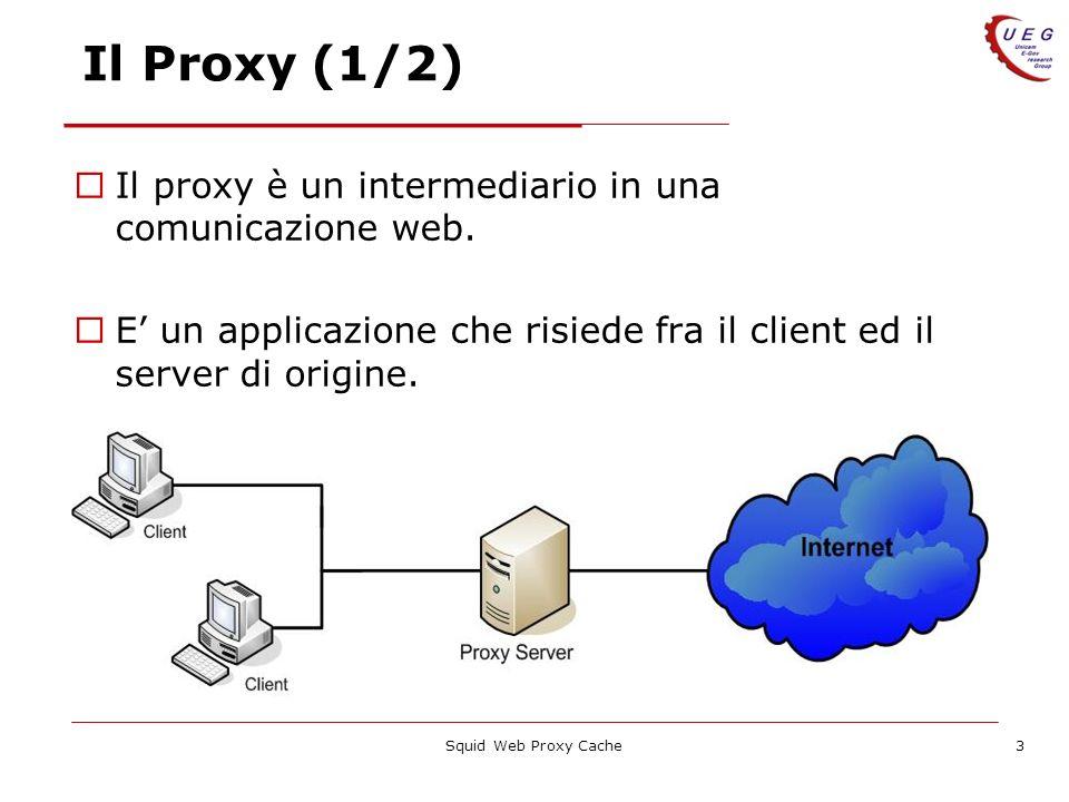 Squid Web Proxy Cache3 Il Proxy (1/2) Il proxy è un intermediario in una comunicazione web. E un applicazione che risiede fra il client ed il server d