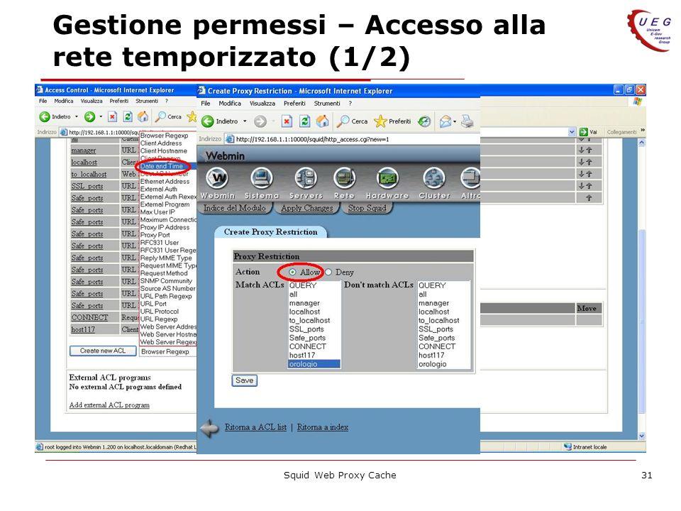 Squid Web Proxy Cache31 Gestione permessi – Accesso alla rete temporizzato (1/2)