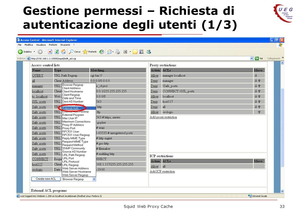 Squid Web Proxy Cache33 Gestione permessi – Richiesta di autenticazione degli utenti (1/3)