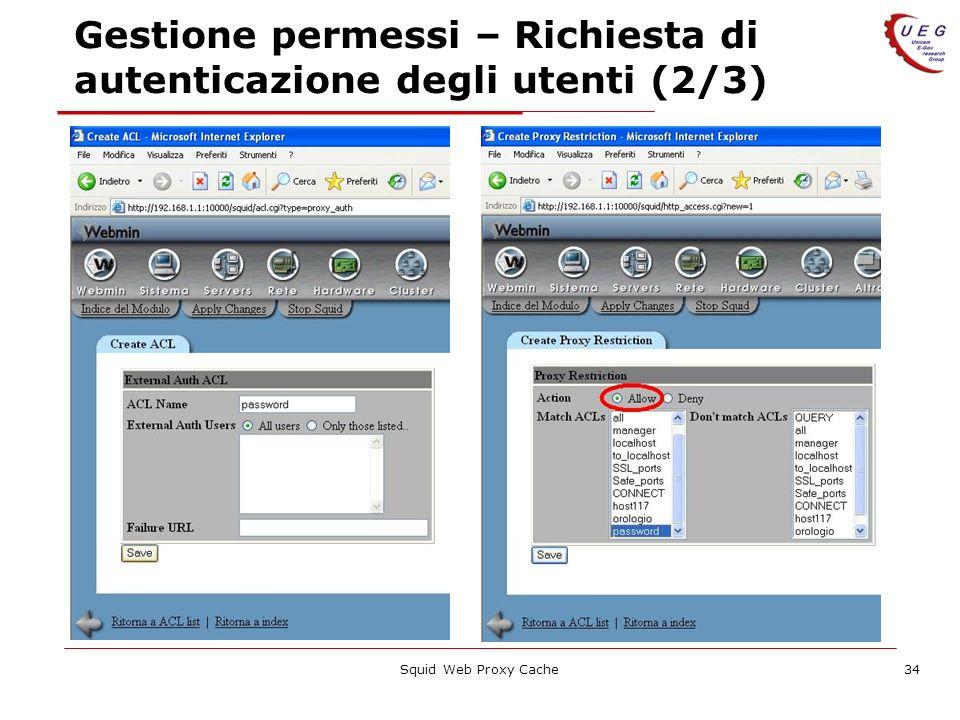 Squid Web Proxy Cache34 Gestione permessi – Richiesta di autenticazione degli utenti (2/3)