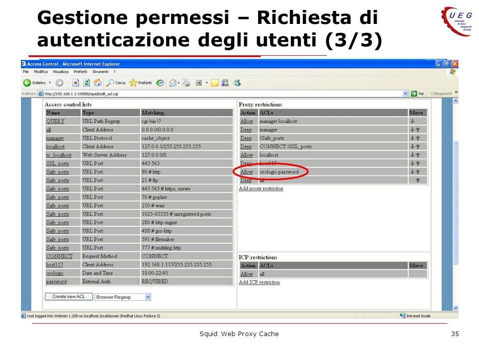 Squid Web Proxy Cache35 Gestione permessi – Richiesta di autenticazione degli utenti (3/3)