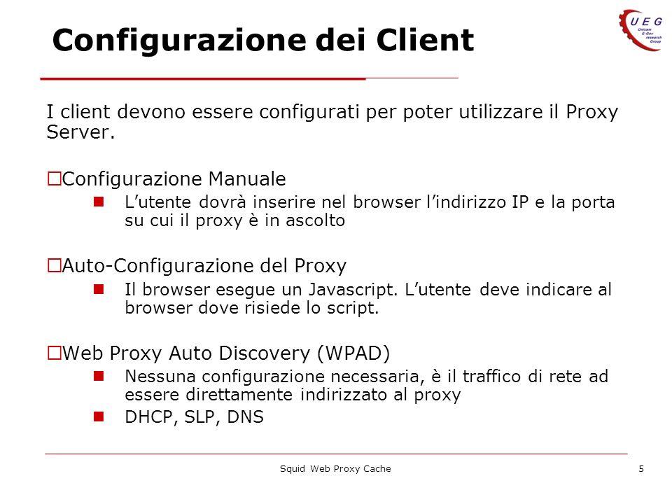 Squid Web Proxy Cache5 Configurazione dei Client I client devono essere configurati per poter utilizzare il Proxy Server. Configurazione Manuale Luten