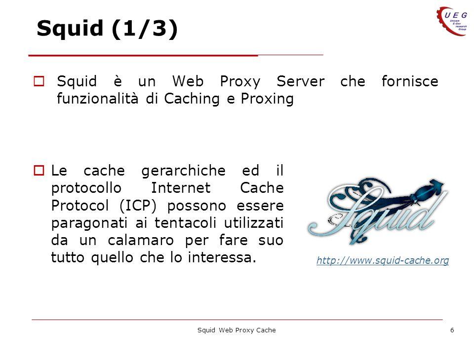 Squid Web Proxy Cache6 Squid (1/3) Squid è un Web Proxy Server che fornisce funzionalità di Caching e Proxing Le cache gerarchiche ed il protocollo In