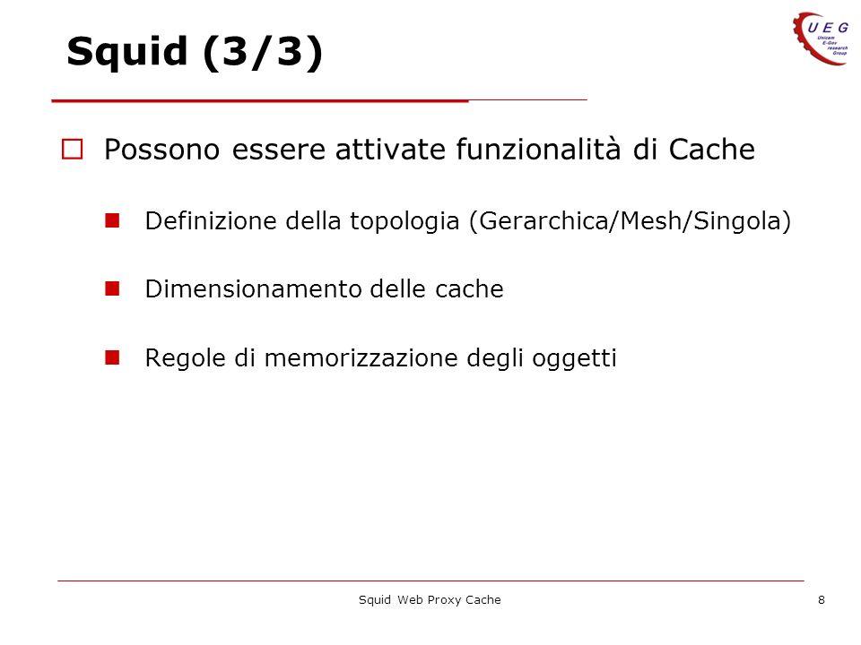 Squid Web Proxy Cache8 Squid (3/3) Possono essere attivate funzionalità di Cache Definizione della topologia (Gerarchica/Mesh/Singola) Dimensionamento