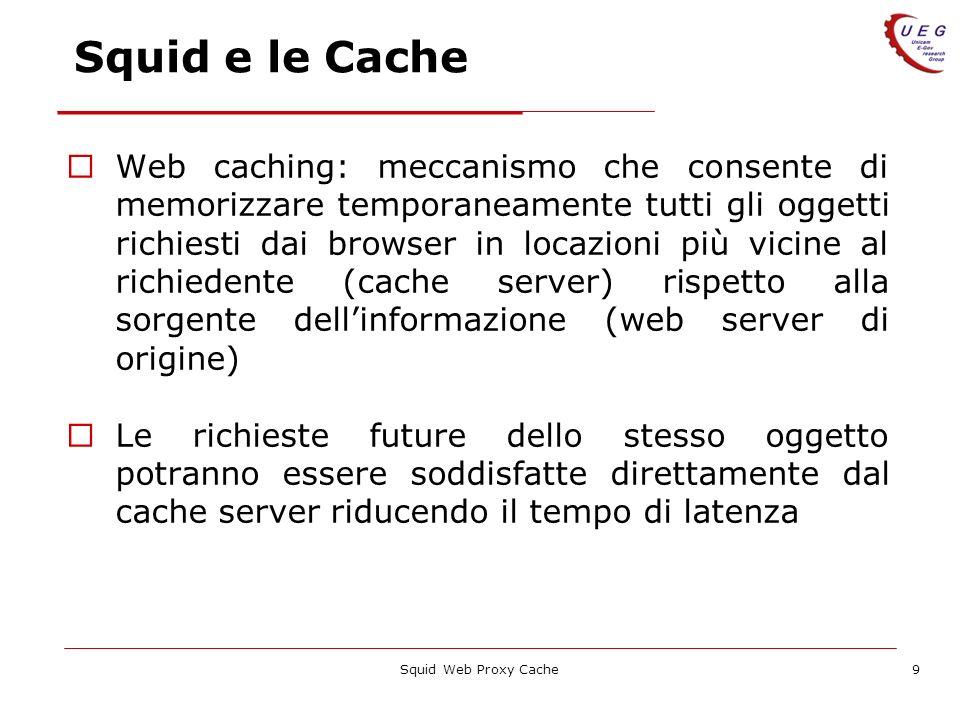 Squid Web Proxy Cache9 Squid e le Cache Web caching: meccanismo che consente di memorizzare temporaneamente tutti gli oggetti richiesti dai browser in