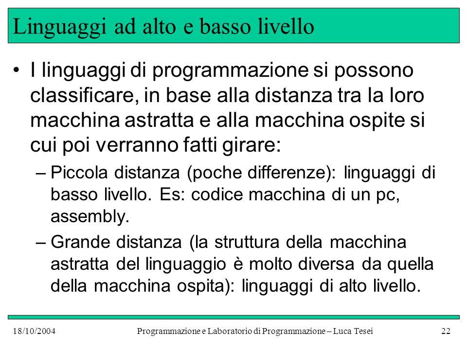 18/10/2004Programmazione e Laboratorio di Programmazione – Luca Tesei21 Programmare in un linguaggio In buona parte di questo corso ci occuperemo di capire bene la macchina astratta Java, cioè studieremo le strutture dati, i costrutti del linguaggio Java e che effetti hanno quando vengono eseguiti Vedremo anche alcuni dettagli dellimplementazione del linguaggio