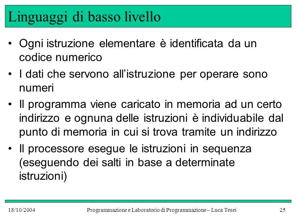 18/10/2004Programmazione e Laboratorio di Programmazione – Luca Tesei24 Linguaggi di basso livello Un esempio tipico di linguaggio di basso è il linguaggio macchina di un pc.