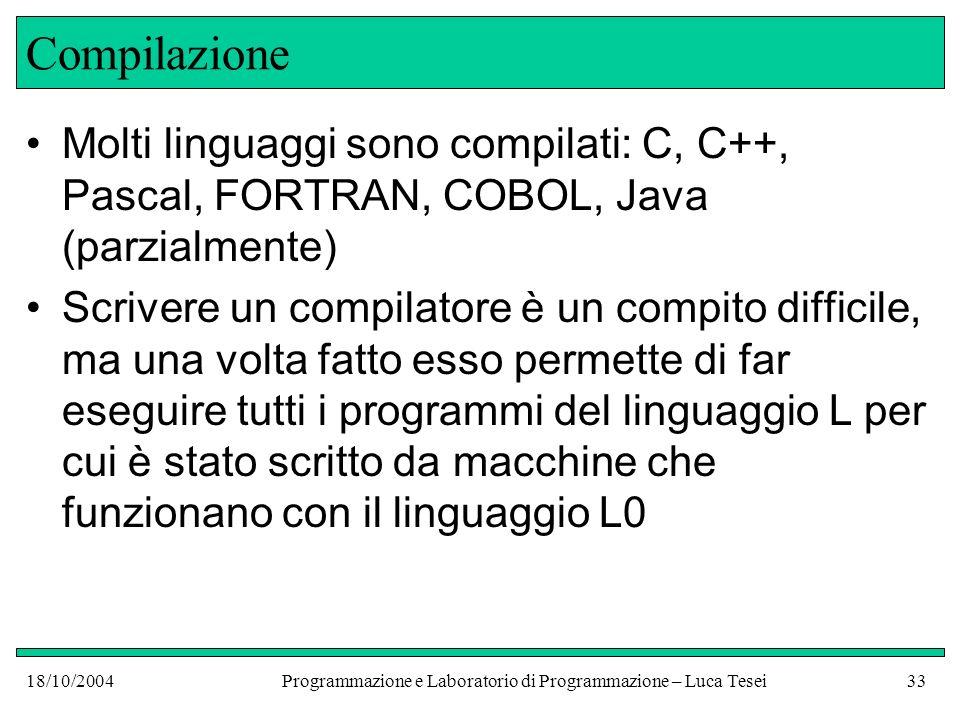 18/10/2004Programmazione e Laboratorio di Programmazione – Luca Tesei32 Compilazione Compilatore Programma scritto in L int main() { double x; int z = 10; while (z >0)......