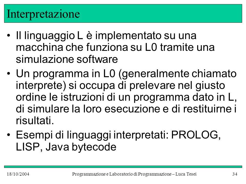 18/10/2004Programmazione e Laboratorio di Programmazione – Luca Tesei33 Compilazione Molti linguaggi sono compilati: C, C++, Pascal, FORTRAN, COBOL, Java (parzialmente) Scrivere un compilatore è un compito difficile, ma una volta fatto esso permette di far eseguire tutti i programmi del linguaggio L per cui è stato scritto da macchine che funzionano con il linguaggio L0
