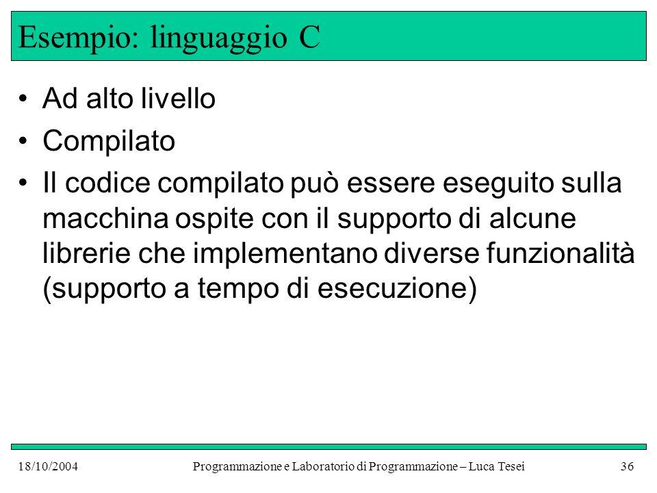18/10/2004Programmazione e Laboratorio di Programmazione – Luca Tesei35 Interpretazione Programma scritto in L int main() { double x; int z = 10; while (z >0)......