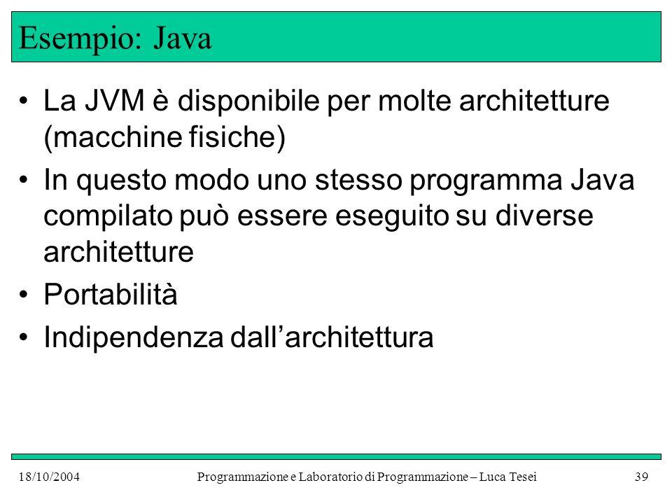 18/10/2004Programmazione e Laboratorio di Programmazione – Luca Tesei38 Esempio: Java Programma scritto in Java Public class Hello { public static void main (String[] ar......