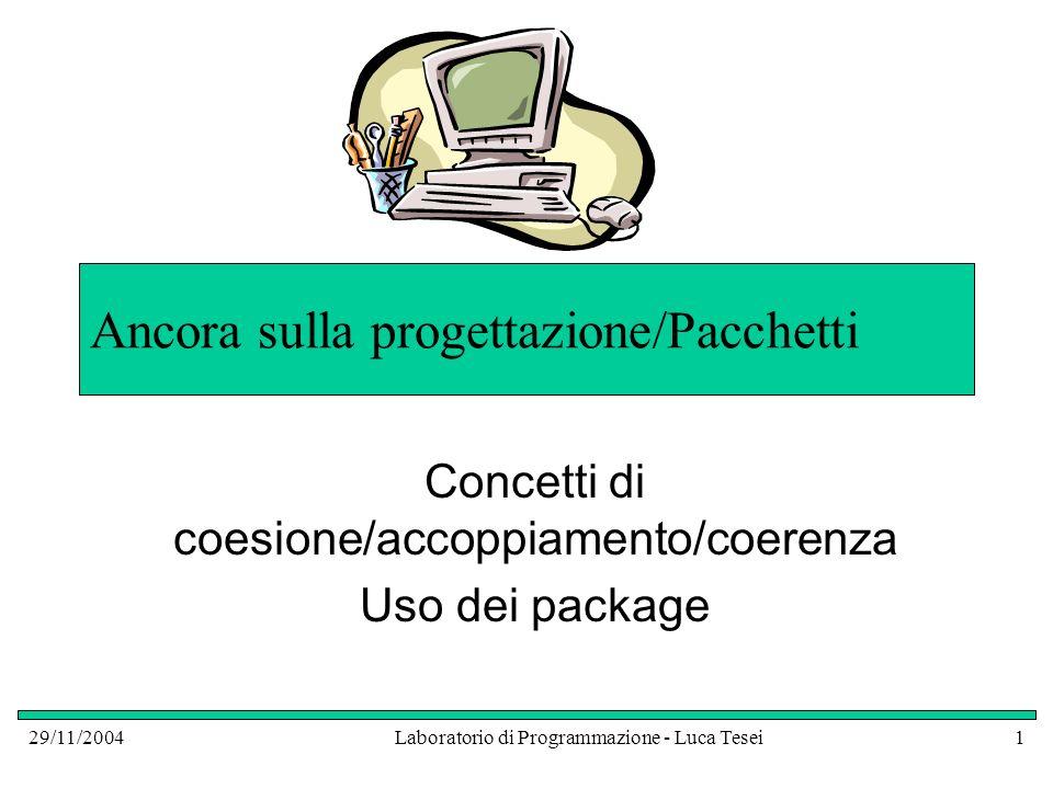 29/11/2004Laboratorio di Programmazione - Luca Tesei32 Pacchetti Abbiamo spesso importato nei nostri programmi classi della libreria standard Abbiamo visto, nelle API, che queste sono raggruppate in pacchetti ( package ) Anche noi possiamo definire uno o più pacchetti personali che contengono le nostre classi!