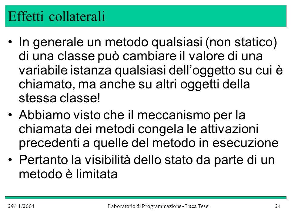 29/11/2004Laboratorio di Programmazione - Luca Tesei24 Effetti collaterali In generale un metodo qualsiasi (non statico) di una classe può cambiare il valore di una variabile istanza qualsiasi delloggetto su cui è chiamato, ma anche su altri oggetti della stessa classe.