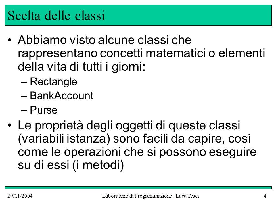 29/11/2004Laboratorio di Programmazione - Luca Tesei15 Dipendenza fra classi UML -Unified Modeling Language- è un linguaggio grafico standardizzato per lanalisi e la progettazione orientata agli oggetti UML rappresenta, nei diagrammi di classi, la dipendenza tra classi con una linea tratteggiata che termina con una freccia aperta da una certa classe A a unaltra classe B dove A dipende da B