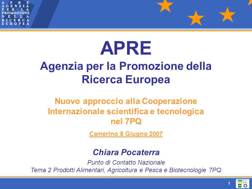 1 APRE Agenzia per la Promozione della Ricerca Europea Nuovo approccio alla Cooperazione Internazionale scientifica e tecnologica nel 7PQ Camerino 8 G