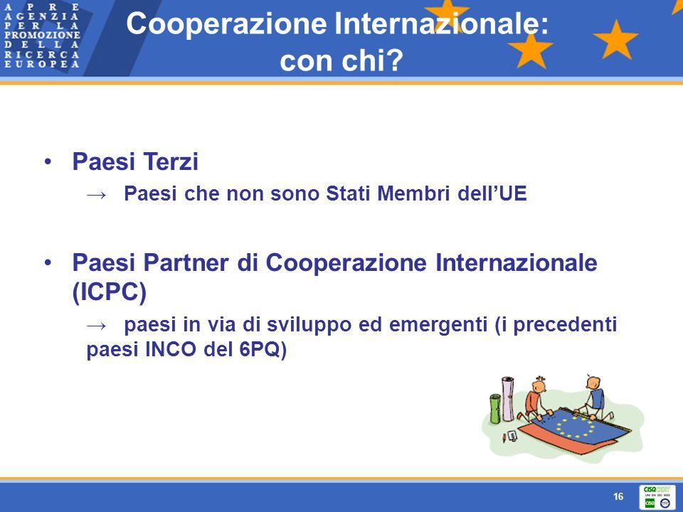 16 Paesi Terzi Paesi che non sono Stati Membri dellUE Paesi Partner di Cooperazione Internazionale (ICPC) paesi in via di sviluppo ed emergenti (i pre