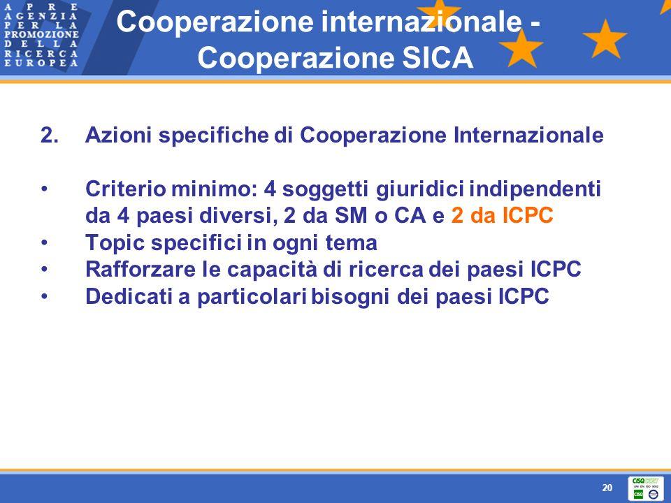 20 2.Azioni specifiche di Cooperazione Internazionale Criterio minimo: 4 soggetti giuridici indipendenti da 4 paesi diversi, 2 da SM o CA e 2 da ICPC