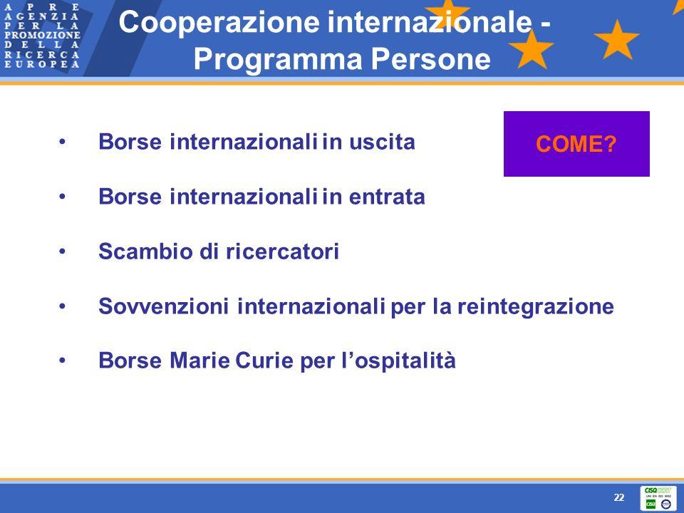 22 Borse internazionali in uscita Borse internazionali in entrata Scambio di ricercatori Sovvenzioni internazionali per la reintegrazione Borse Marie