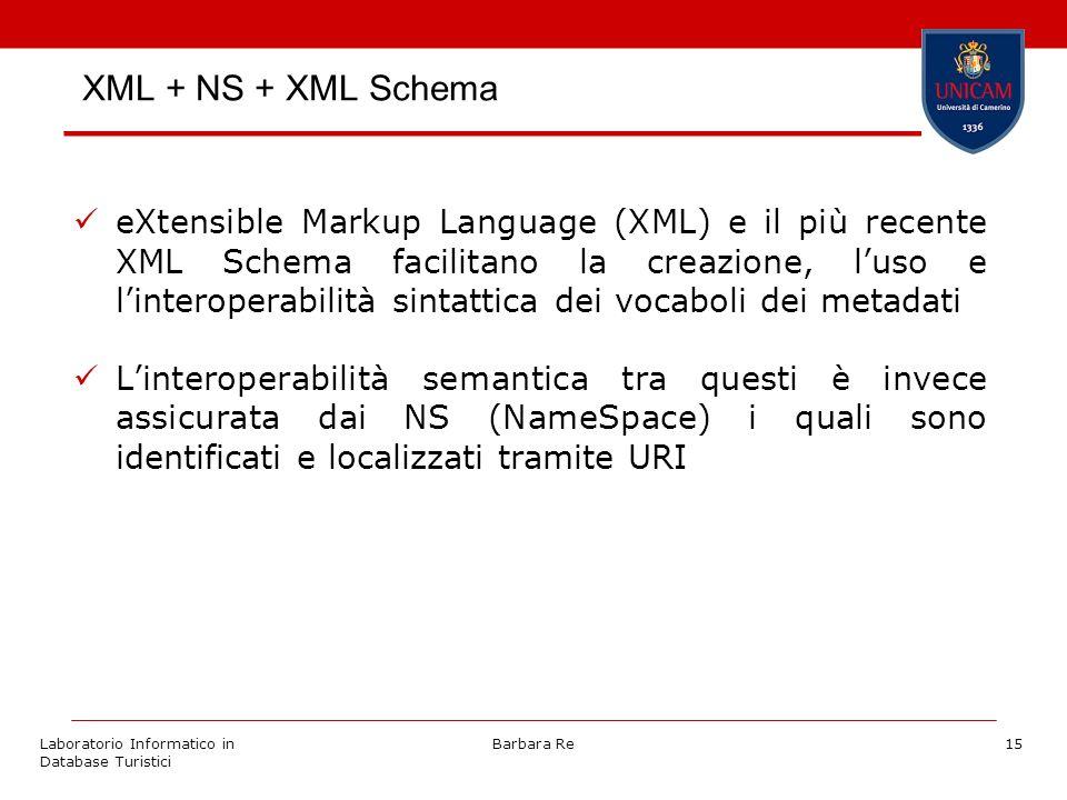 Laboratorio Informatico in Database Turistici Barbara Re15 XML + NS + XML Schema eXtensible Markup Language (XML) e il più recente XML Schema facilita