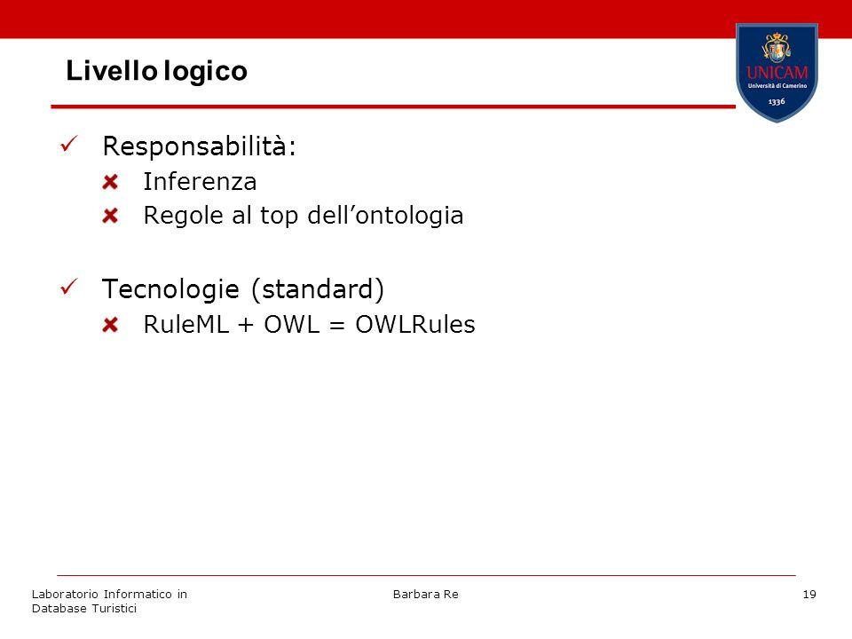 Laboratorio Informatico in Database Turistici Barbara Re19 Livello logico Responsabilità: Inferenza Regole al top dellontologia Tecnologie (standard)