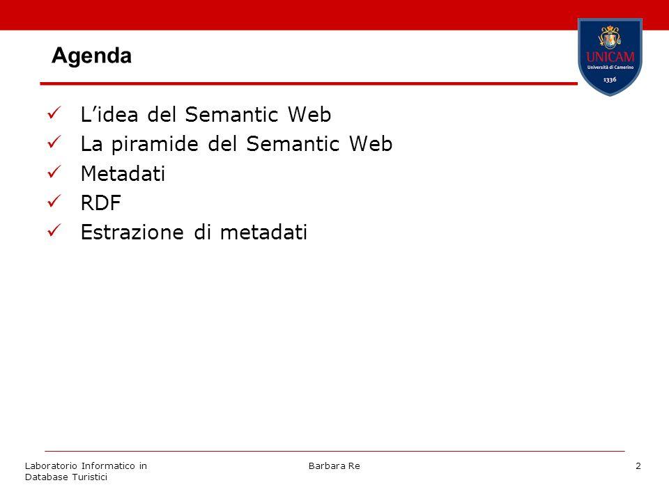 Laboratorio Informatico in Database Turistici Barbara Re2 Agenda Lidea del Semantic Web La piramide del Semantic Web Metadati RDF Estrazione di metada
