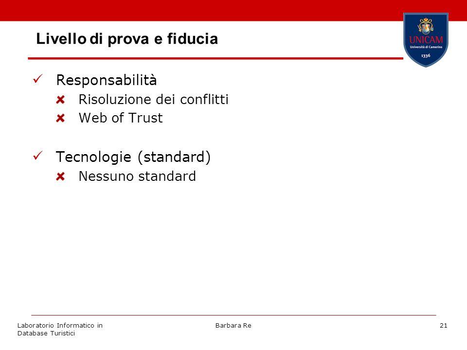 Laboratorio Informatico in Database Turistici Barbara Re21 Livello di prova e fiducia Responsabilità Risoluzione dei conflitti Web of Trust Tecnologie