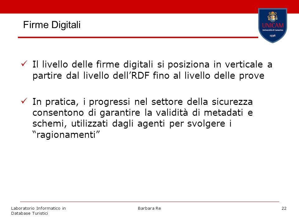 Laboratorio Informatico in Database Turistici Barbara Re22 Firme Digitali Il livello delle firme digitali si posiziona in verticale a partire dal live