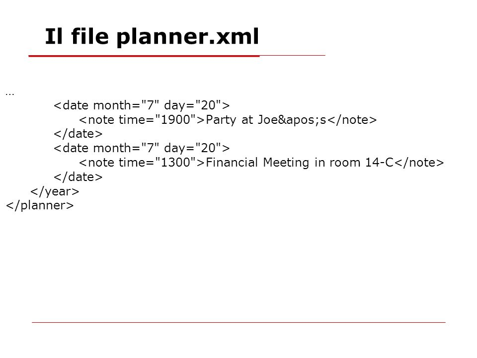 … Party at Joe's Financial Meeting in room 14-C Il file planner.xml