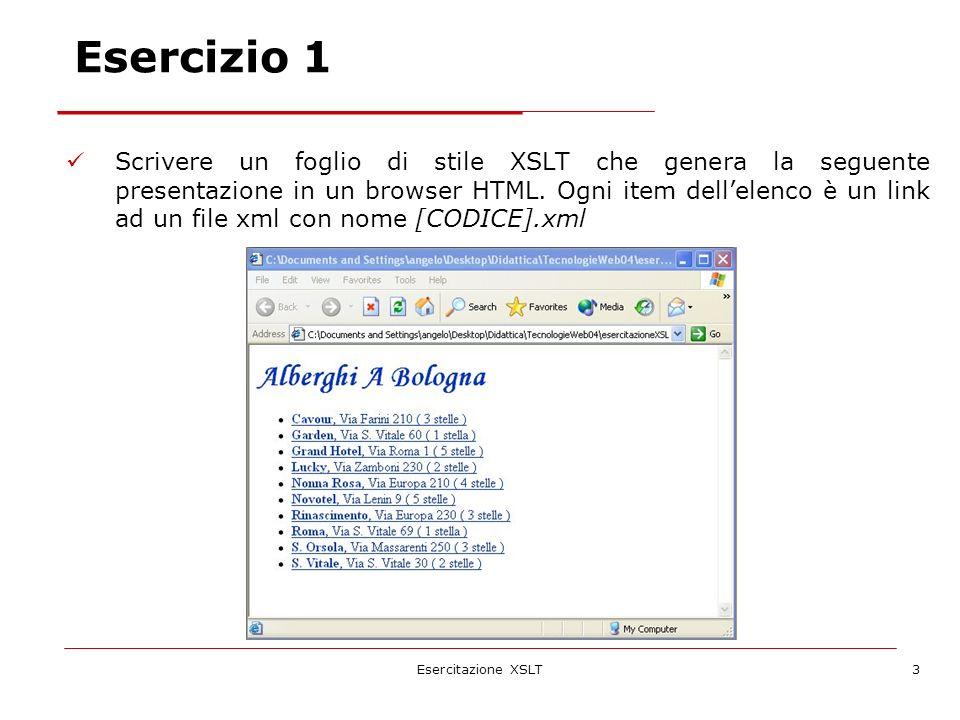 Esercitazione XSLT3 Scrivere un foglio di stile XSLT che genera la seguente presentazione in un browser HTML. Ogni item dellelenco è un link ad un fil