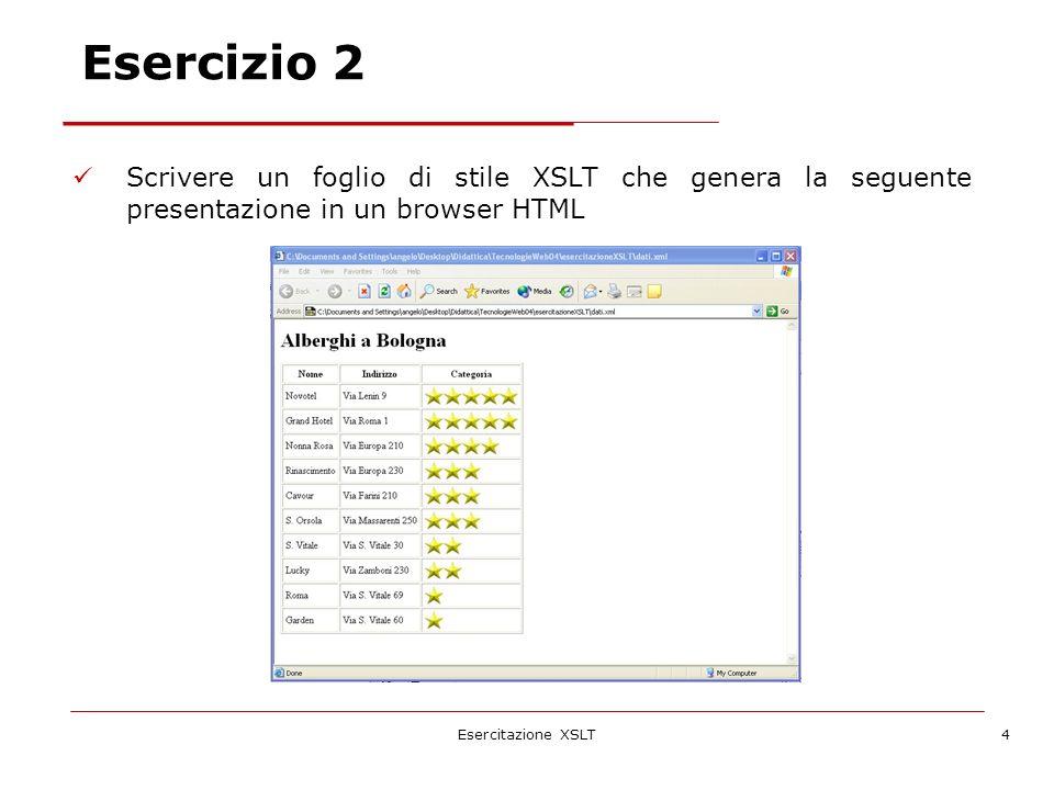 Esercitazione XSLT5 Scrivere un foglio di stile XSLT che genera la seguente presentazione in un browser HTML della scheda del primo albergo.