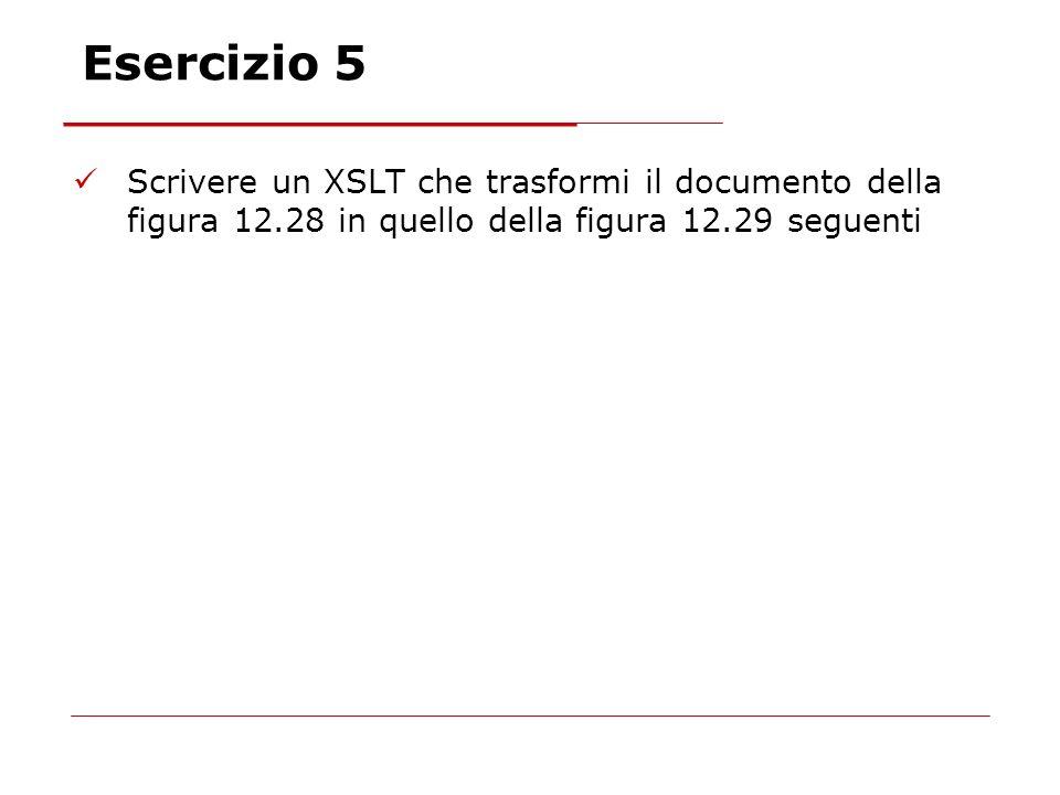Esercizio 5 Scrivere un XSLT che trasformi il documento della figura 12.28 in quello della figura 12.29 seguenti