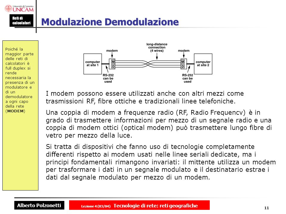 Alberto Polzonetti Reti di calcolatori Lezione 4 (03/04) Tecnologie di rete: reti geografiche 11 Modulazione Demodulazione Poiché la maggior parte del
