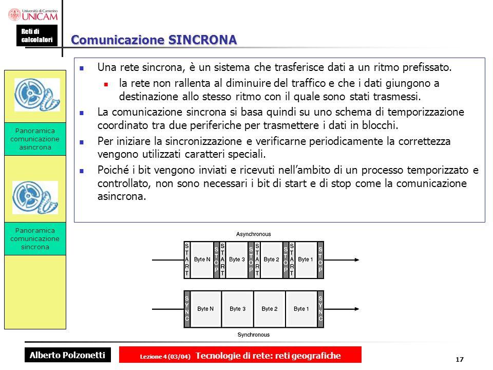 Alberto Polzonetti Reti di calcolatori Lezione 4 (03/04) Tecnologie di rete: reti geografiche 17 Comunicazione SINCRONA Una rete sincrona, è un sistem