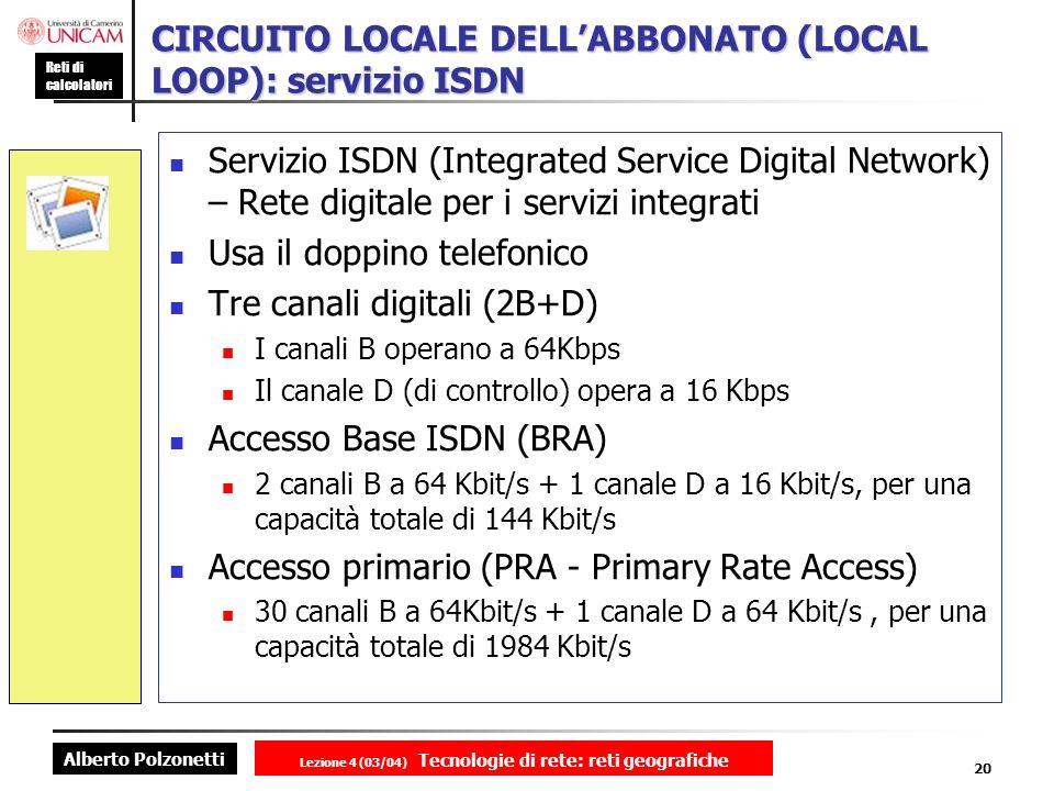 Alberto Polzonetti Reti di calcolatori Lezione 4 (03/04) Tecnologie di rete: reti geografiche 20 CIRCUITO LOCALE DELLABBONATO (LOCAL LOOP): servizio I