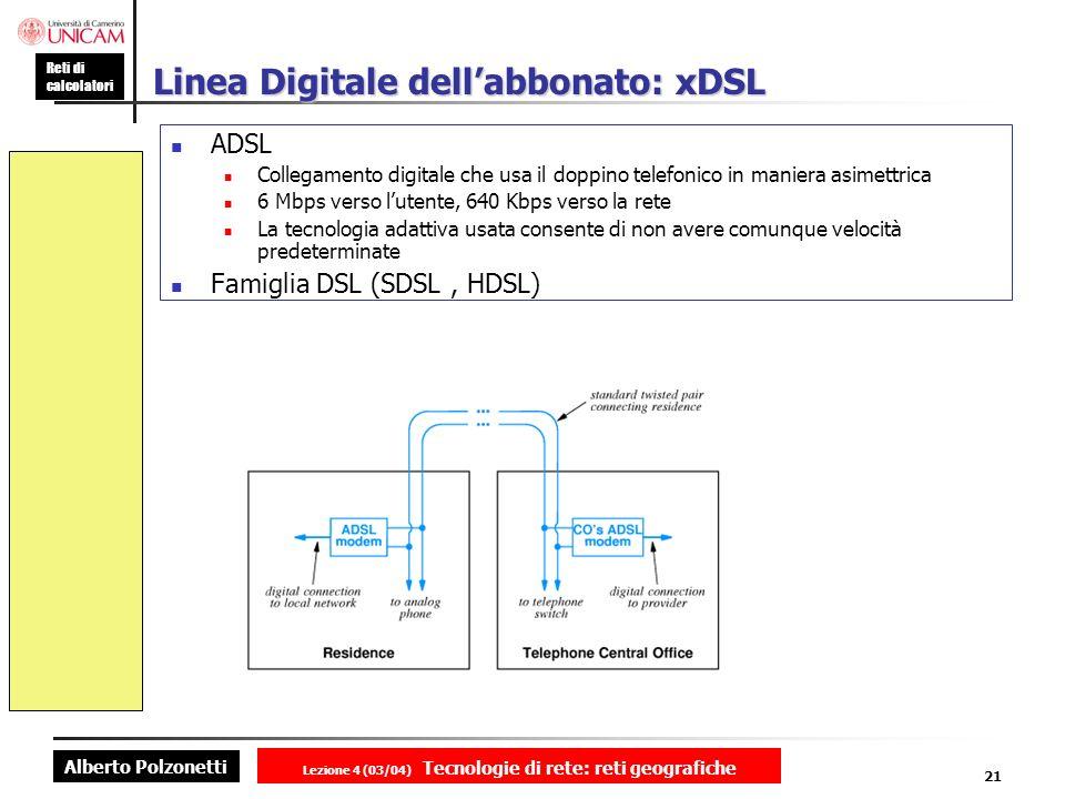 Alberto Polzonetti Reti di calcolatori Lezione 4 (03/04) Tecnologie di rete: reti geografiche 21 Linea Digitale dellabbonato: xDSL ADSL Collegamento d