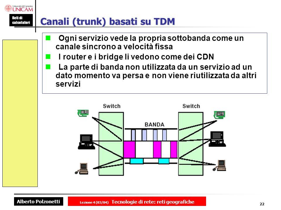 Alberto Polzonetti Reti di calcolatori Lezione 4 (03/04) Tecnologie di rete: reti geografiche 22 Canali (trunk) basati su TDM Ogni servizio vede la pr