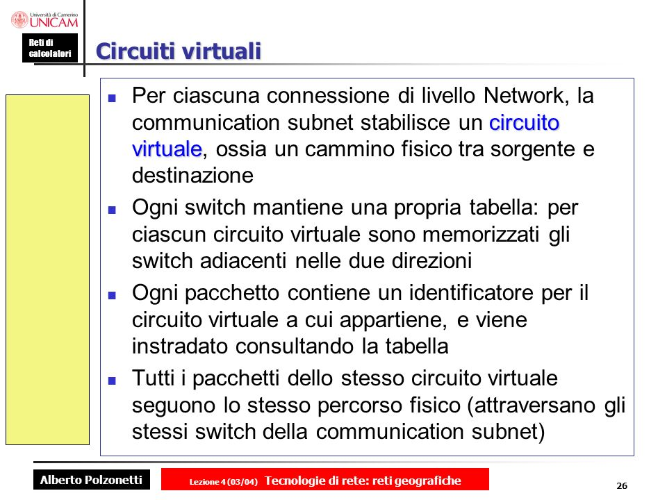 Alberto Polzonetti Reti di calcolatori Lezione 4 (03/04) Tecnologie di rete: reti geografiche 26 Circuiti virtuali circuito virtuale Per ciascuna conn