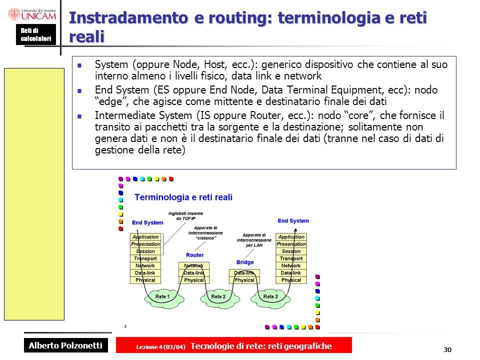 Alberto Polzonetti Reti di calcolatori Lezione 4 (03/04) Tecnologie di rete: reti geografiche 30 Instradamento e routing: terminologia e reti reali Sy