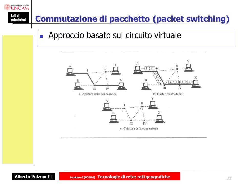 Alberto Polzonetti Reti di calcolatori Lezione 4 (03/04) Tecnologie di rete: reti geografiche 33 Commutazione di pacchetto (packet switching) Approcci