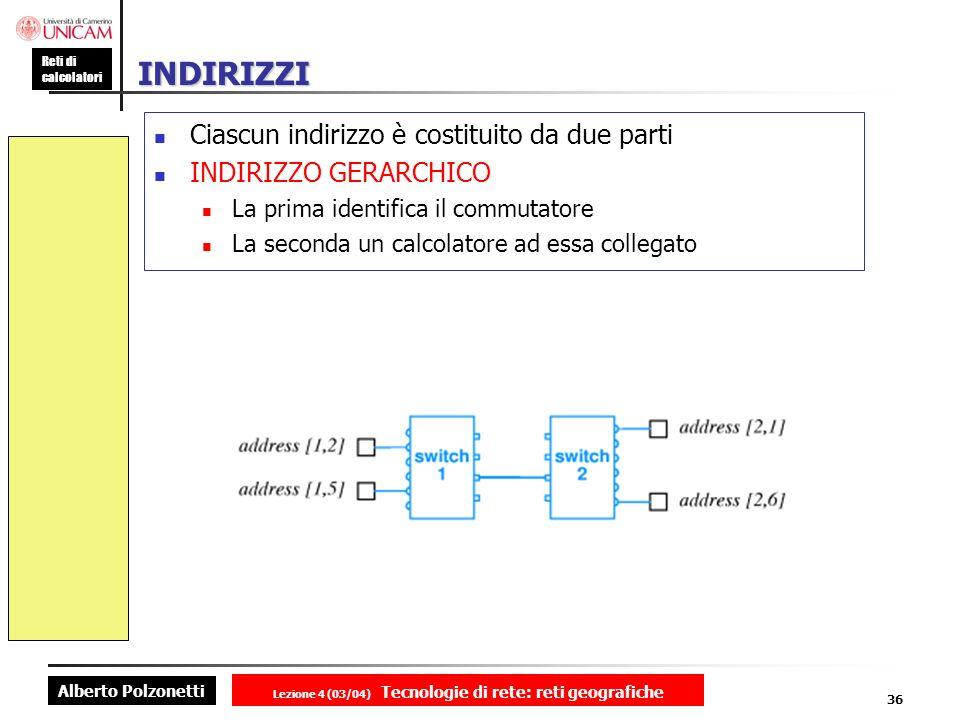 Alberto Polzonetti Reti di calcolatori Lezione 4 (03/04) Tecnologie di rete: reti geografiche 36 INDIRIZZI Ciascun indirizzo è costituito da due parti