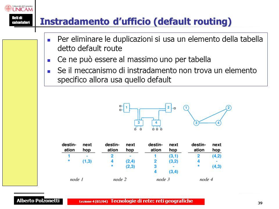 Alberto Polzonetti Reti di calcolatori Lezione 4 (03/04) Tecnologie di rete: reti geografiche 39 Instradamento dufficio (default routing) Per eliminar