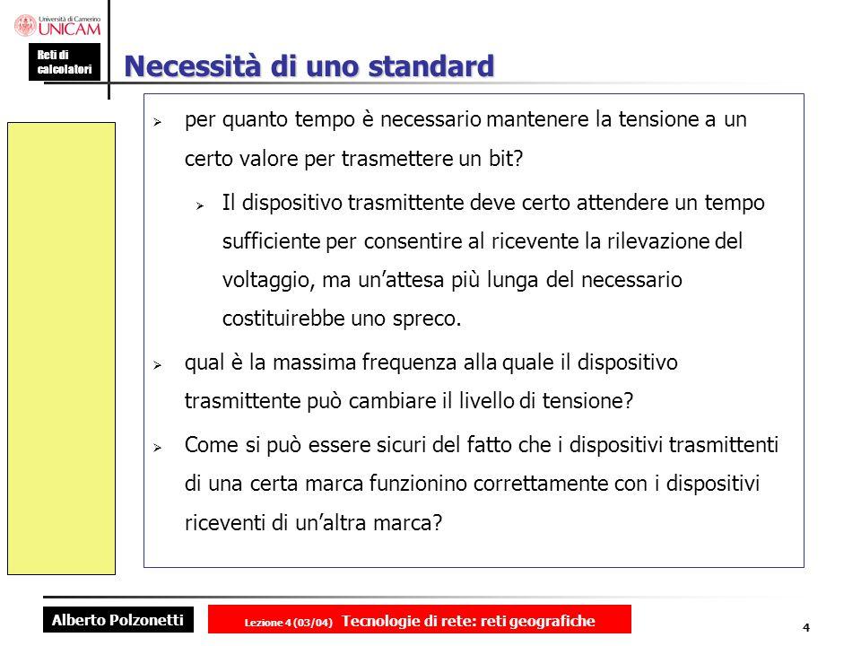 Alberto Polzonetti Reti di calcolatori Lezione 4 (03/04) Tecnologie di rete: reti geografiche 4 Necessità di uno standard per quanto tempo è necessari